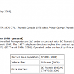 A screenshot of data collected by the University of Manitoba re BC Transit history in Prince George British Columbia